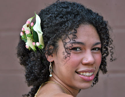 In Flower - Brunette, 3c, Updos, Kinky hair, Long hair styles, Summer hair, Styles, Female, Curly hair Hairstyle Picture