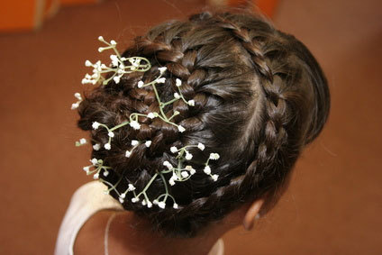 French Braid - Brunette, Updos, Braids, Styles, Female, Adult hair, Straight hair, French braids Hairstyle Picture