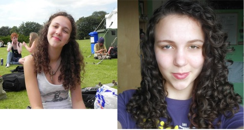 Before and after curly girl - Brunette, 3b, 3a, Female, Teen hair Hairstyle Picture
