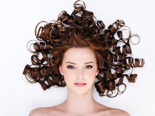 Cool curly hair - Redhead, Brunette, Medium hair styles, Wedding hairstyles, Female, Curly hair, Adult hair Hairstyle Picture
