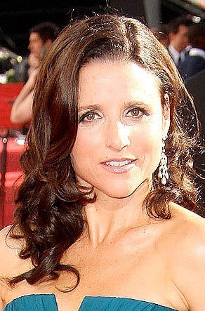 Julia Louise-Dreyfus - Brunette, Celebrities, Wavy hair, Long hair styles, Female, Curly hair, 2009 Emmy Awards Hairstyle Picture