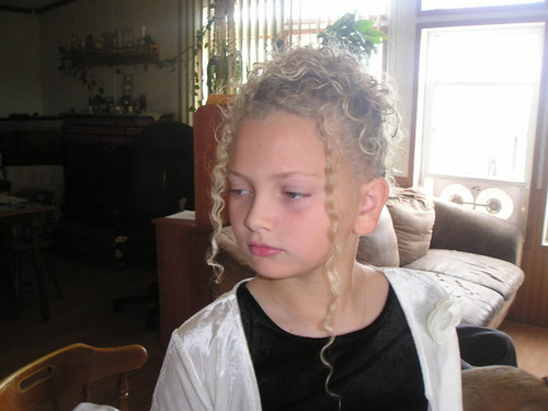 My daughters up-do - Blonde, 3b, Kids hair, Updos, Long hair styles, Twist hairstyles, Braids, Wedding hairstyles, Readers, Styles, Female, Curly hair, Formal hairstyles Hairstyle Picture