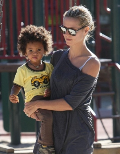 Johan with mom Heidi Klum - Brunette, 4a, 4b, Celebrities, Short hair styles, Kids hair, Kinky hair, Twist hairstyles, Afro Hairstyle Picture
