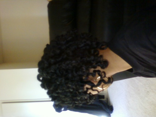 two strand twists meet flexi rod - Brunette, 4a, Short hair styles, Kinky hair, Readers, Female, Black hair, Adult hair, Spiral curls, Twist out Hairstyle Picture