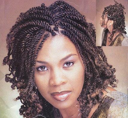 Kinky Twists - Brunette, Medium hair styles, Twist hairstyles, Styles, Female, Adult hair Hairstyle Picture