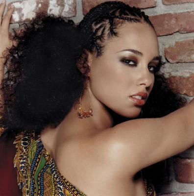 Alicia Keyes - Brunette, 3c, Celebrities, Medium hair styles, Kinky hair, Braids, Afro, Female, Curly hair, Adult hair, Formal hairstyles, Cornrows, Afro puff, Braid out Hairstyle Picture