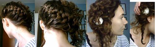 French braid with curls - Brunette, 3a, Medium hair styles, Long hair styles, Braids, Female, Adult hair, French braids, Layered hairstyles Hairstyle Picture