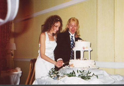 Laura and Walt with Cake-2.jpg - Wedding hairstyles, Readers Hairstyle Picture