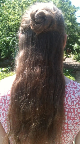 Half Up Ballerina Bun - 2a, Brunette, 2b, Updos, Long hair styles, Twist hairstyles, Readers, Female, Teen hair, Adult hair, Buns Hairstyle Picture