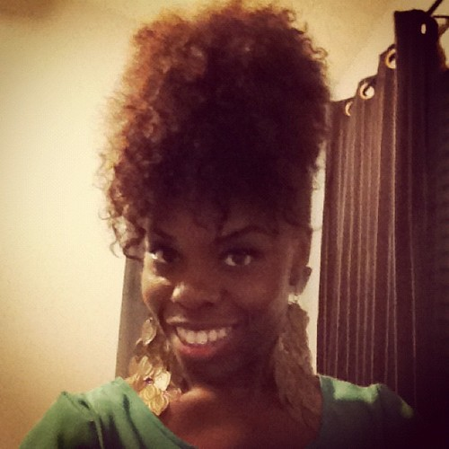 Sexy Pineapple Updo - 3c, 4a, Medium hair styles, Updos, Twist hairstyles, Afro, Female, Black hair, Afro puff, Bantu knot out, Twist out Hairstyle Picture