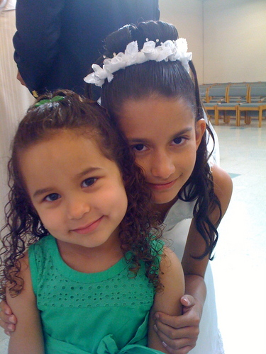 Curly Girls on First Communion - Brunette, 3c, Medium hair styles, Kids hair, Long hair styles, Summer hair, Spring hair, Readers, Special occasion, Curly hair Hairstyle Picture